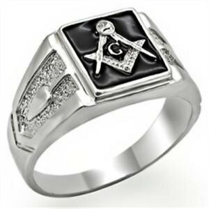 Small Solid Square Face Masonic Mason Men's Stainless Steel Ring