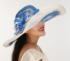 New Church Kentucky Derby Wedding Sinamay Wide Brim Dress Hat Blue w White Color