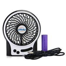 Mini USB Fan LED 3 Speeds Rechargeable Battery Portable Table Fan Black #US