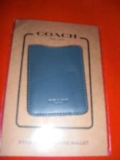 COACH LEATHER BLUE DENIM PHONE POCKET STICKER WALLET/CARD CASE/ID  NEW WT