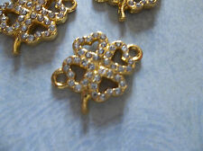 Clear Rhinestone Connectors - Gold 4 Leaf Clovers - 21mm x 16mm - 3 pieces