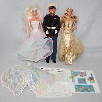 Lot of 3 Barbie Dolls, Marine Ken, Angel Princess, Gold Dress