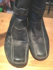 JOSEF SEIBEL Ladies Grey Leather Top Dry Boot Wool Lined Faux Fur Trim Boots 41