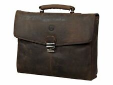 dbramante1928 Leather Briefcase for Upto 14 Inch Laptop - Hunter Brown