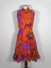 Vintage 1960s Mod Floral Dress M L Ruffles Orange Poppies Chiffon Sleeveless 60s