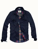 Mens Cali Holi Military Muscle Fit Flannel Lined Shirt JKT Navy 156001
