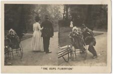 1905 Humorous Postcard of Tramp Stealing Baby from Policeman & Mother