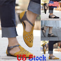 Women's Lady Pointed Toes Shallow Mouth Skeleton Single Shoes Flat Ankle Strap