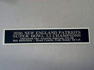 New England Patriots Football Card Super Bowl LI Display Case Nameplate 1.5 X 6