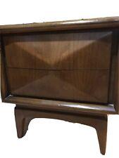 Vintage Mid Century Modern Diamond Front Walnut Nightstand by United Furniture