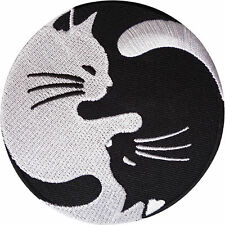 Yin Yang White Black Cat Sew Iron On Patch Badge Bag Hat Jeans Fabric Applique