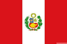 "PERU WITH CREST 18"" x 12"" FLAG suitable for Boats Caravans Treehouses flags"