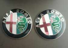 NEW ALFA ROMEO BONNET LOGO BADGE EMBLEM STICKER GTV & SPIDER FRONT GRILLE x2