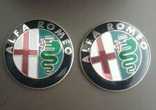 NEW ALFA ROMEO BONNET LOGO BADGE EMBLEM STICKER GTV & SPIDER FRONT GRILLE x2