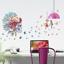 Large Skull Wall Decal Indian Feathers Shaman Butterfly Teen Sticker Removable