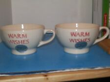 2 NWT PRIMAGERO HANDCRAFTED XL PORCELAIN 16 OZ. 'WARM WISHES' CHIP ON ONE BOWLS