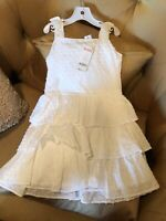 Gymboree Sundress Girls Size 4 White Embroidered Flowers