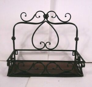 Vtg Wrought iron & wood wall hanging Shelf office laundry bathroom den