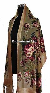 Handmade Elegant 100% Silk Burnout Velvet Vintage Floral Scarf Shawl Wrap, Camel