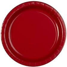 "8 x Classic Red 9"" Paper Plates Solid Adult Party Tableware Supplies Anniversary"