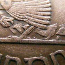 Irish 1942 One Penny Coin Chickless Error Old Ireland Hen Chicks Celtic Harp