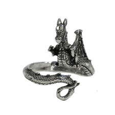 Sterling Silver Coiled Wrapped Dragon Ring Open Adjustable Finger Thumb Jewelry