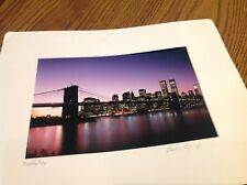 Brooklyn Bridge Top View by Ralph Purgliese 2001 in color has towers in print