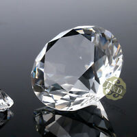Clear Crystal Diamond Shape Paperweight Glass Gem Display Ornament Gift 30mm