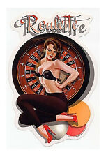 RARE ROULETTE Sexy Gambling Vintage PIN-UP GIRL STICKER/ DECAL By Ralph Burch