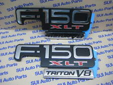 Ford F-150 XLT Triton V8 Chrome-Black-Red Fender Emblem  OEM  Set of 2