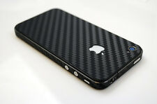 BLACK CARBON FIBRE FIBER FULL BODY SLIM PROTECTOR STICKER SKIN 4 iPhone 4 4s UK