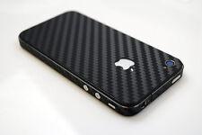 NERO Fibra di Carbonio Fibra FULL BODY SLIM Protector Adesivo SKIN 4 iPhone 4 4S UK