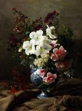 Huge oil painting beautiful spring flowers in blue and white porcelain vase