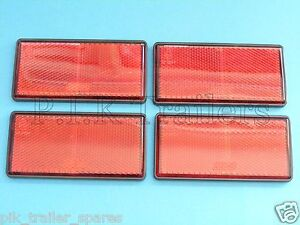 4 x RED Self Adhesive Stick On Rear Reflectors 100mm x 50mm - Trailer