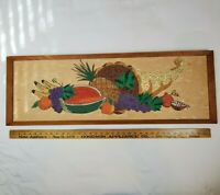 Vintage Mid Century Modern Gravel Art Fruit Cornucopia Mosaic Large Wall Decor