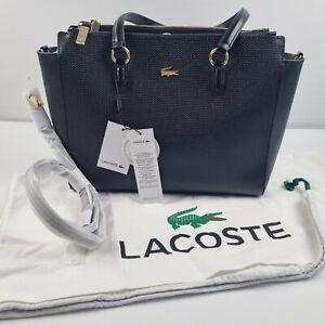 Lacoste Bag Womens Black Double Zip Shopping Bag Split Cow Leather