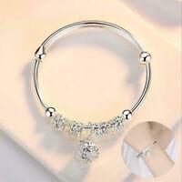 Fashion Gift New Women Jewelry 925 Silver Plated Cuff Bracelet Charm Bangle