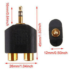 Gold Plated Stereo Audio Male Plug to 2 RCA Female Jack Y 3.5mm Adapter Tool