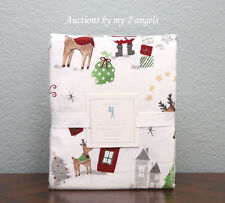 NEW Pottery Barn Kids Christmas NORTH POLE Santa Reindeer Flannel Full Sheet Set