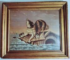 Antique Folk Art Oil Painting Dog In Flood After Carl Fredrik Kiorboe/ Primitive