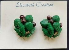 Vintage Earrings -  Green and Purple Bead Clip-on Earrings