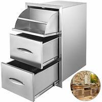 BBQ Triple Drawer 76X43cm Triple Storage Drawer Modular Cabinets Stainless Steel