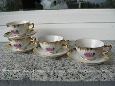 4 TASSES à MOKA / SOUC Porcelaine Italienne Décor ROSES