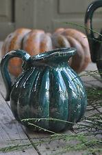 1x Krug S bauchig shabby style, Deco antik Petrol craquele Keramik Kürbis Look