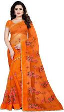 Saree Indian Bollywood Sari Net Ethnic Wear Party Designer Embroidery Wedding