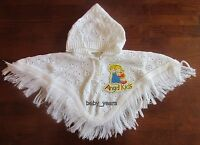 BABY GIRLS KNITTED PONCHO HOODED CAPE PINK WHITE CLOTHING NEWBORN 0-3 3-6 MTHS
