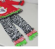 Emily Rose Boutique Christmas Outfit Red w/Snowman Ruffles/Stripe Size 3T NEW