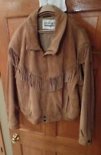 Red Sky Fringed Leather Bomber Style Jacket from J Riggins