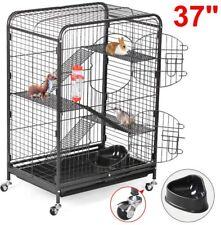 Rolling Metal Ferret Cage Portable 3 Ramps 4 Levels 37'' H Wheels Feeder Black