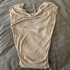 Arden B Women Blouse Top Sleeve Sz S Beige Silk Dolman Style Stretchy Open Back